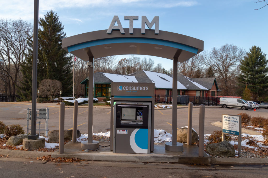 Consumers Credit Union Drive-Up ATM in front of a Consumers Credit Union