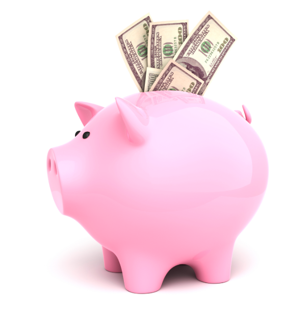 A pink piggy bank with dollar bills poking out of the top