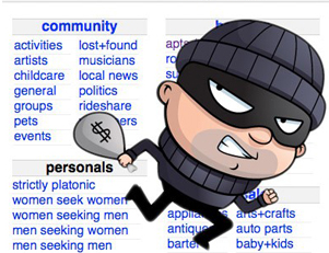 Cartoon of a burglar with Craigslist menu page in the background