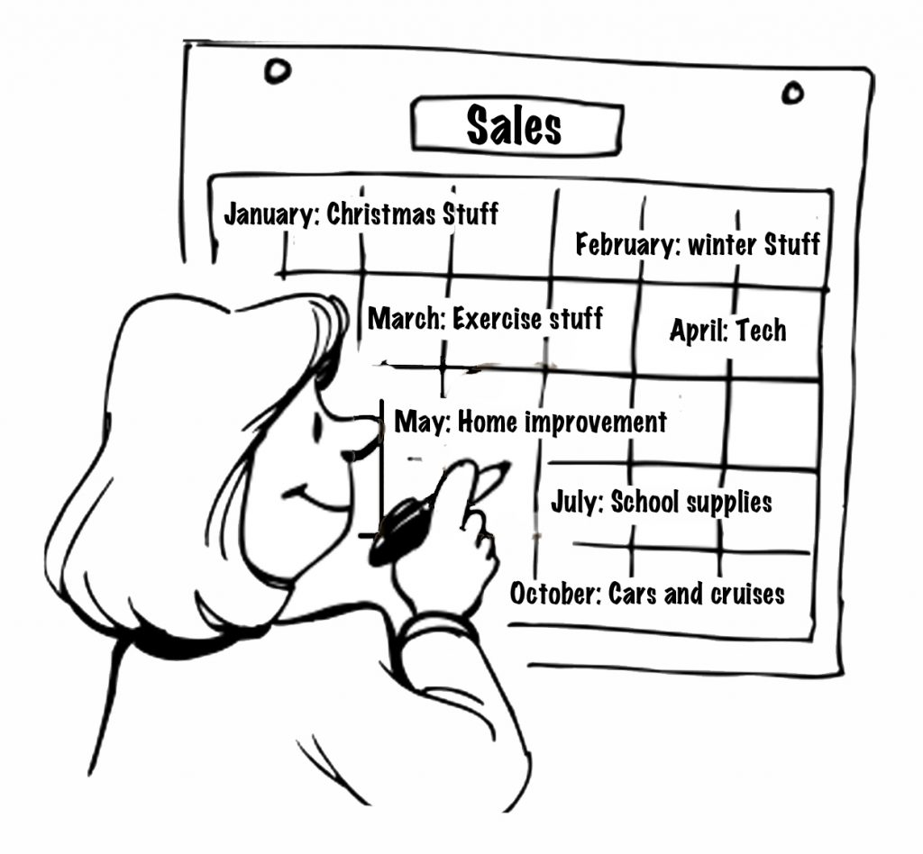 Cartoon of a woman writing out a sales calendar for the year