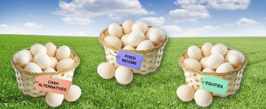Three baskets of eggs on grass with a label on each reading different financial terms
