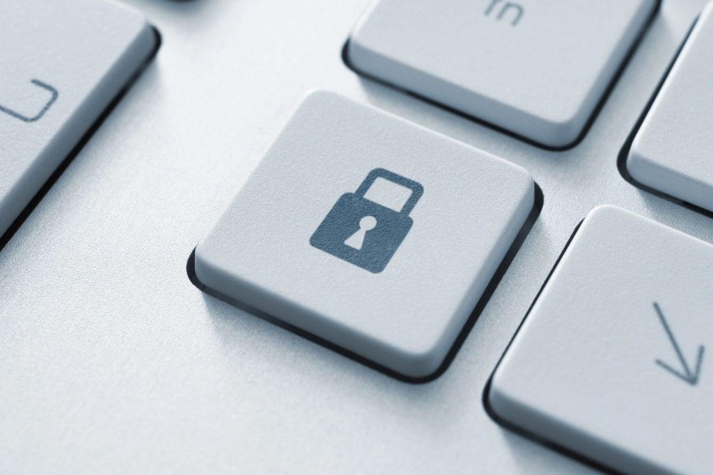 A close-up of a Lock key on a computer keyboard