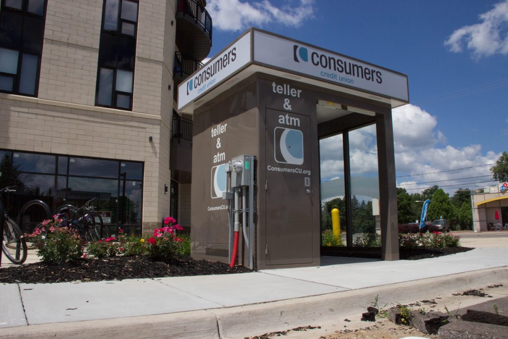 Consumers Credit Union Teller & ATM kiosk outside of a building