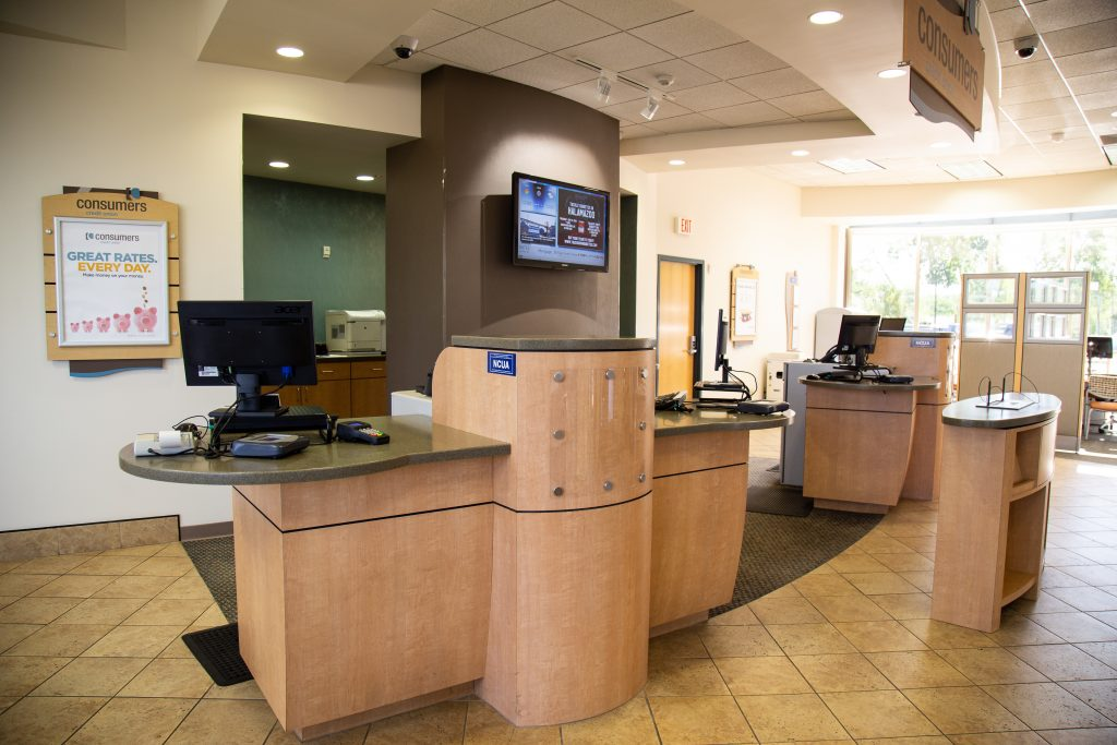 Inside of a Consumers Credit office service desks