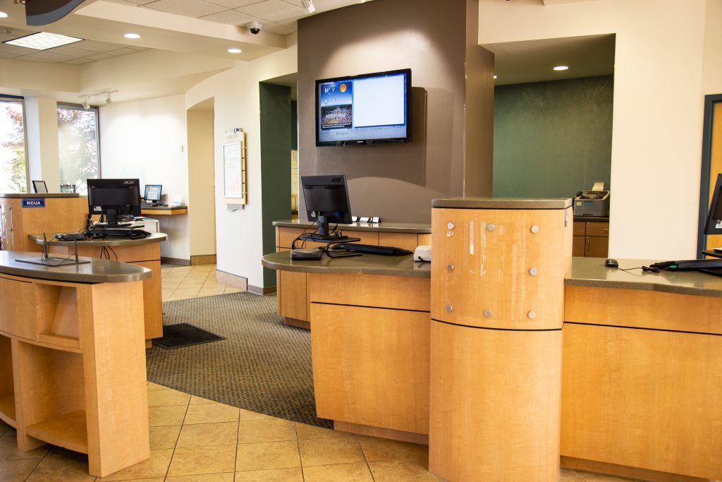 Customer service stations inside of a Consumers Credit Union