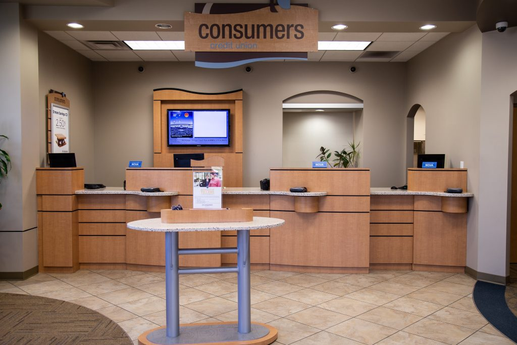 Front view of a Consumers Credit Union front desk