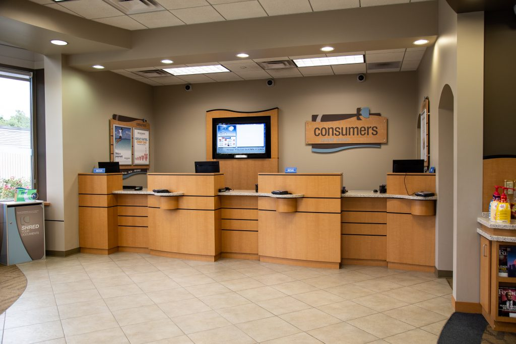 A Consumers Credit Union office location front desk