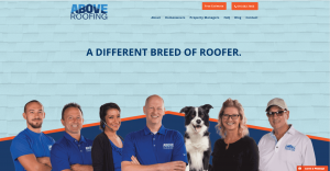 Promotional shot of Above Roofing employees, owners, and their dog