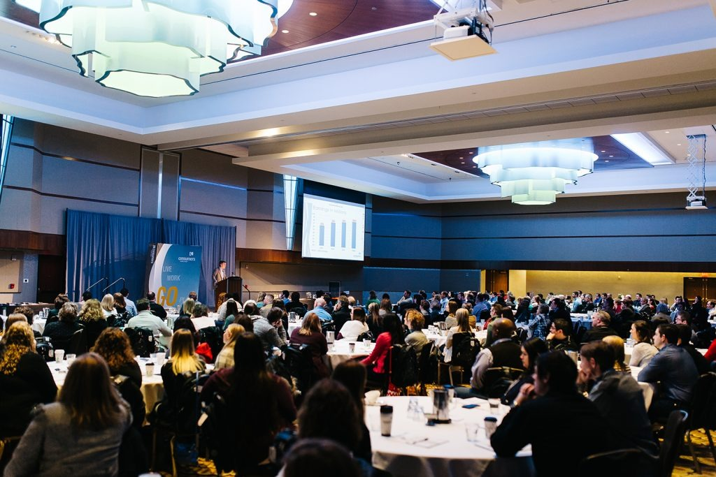A large Consumers Credit Union event in a spacious reception hall