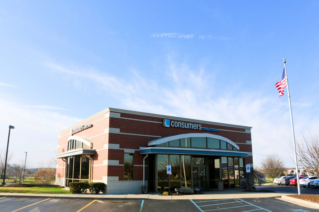 A Consumers Credit Union branch location on a sunny day