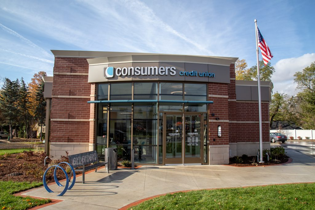 Consumers Credit Union branch with two blue circle bike racks