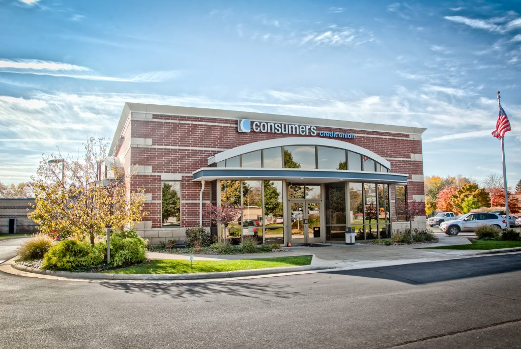 A Consumers Credit Union location on a sunny fall day