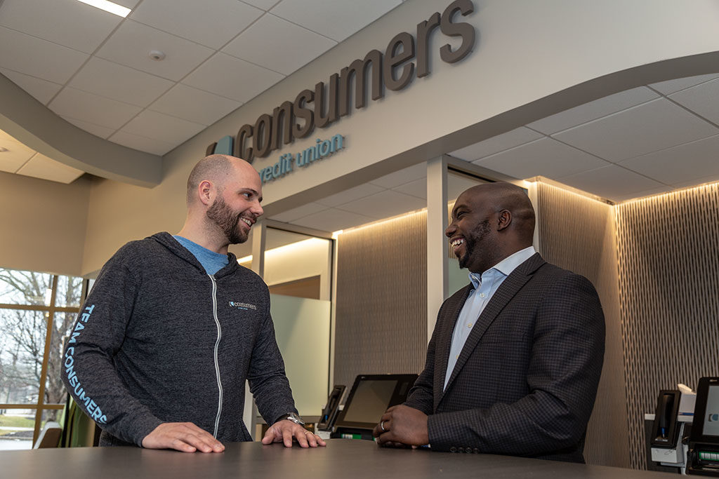 Jeff Chappell, Business Development Manager at Consumers Credit Union with a customer