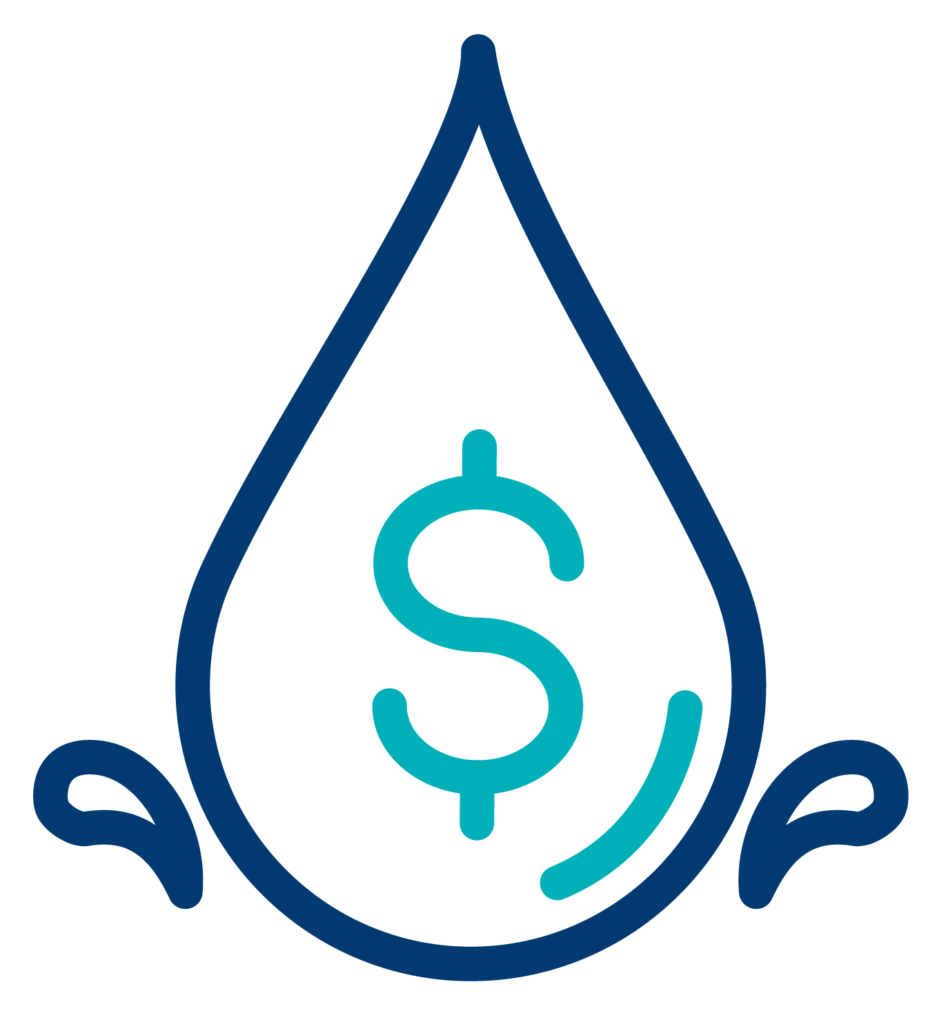 Drop of water with money symbol inside