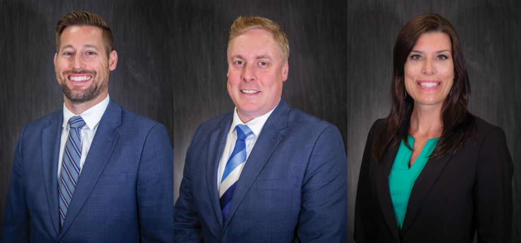 Headshots of Mortgage Loan Officers Gregg Teegardin, Steve Frendt and Mary Brown