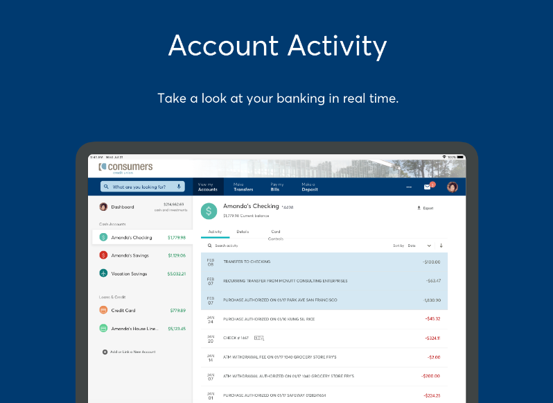 Account activity view of Online Banking