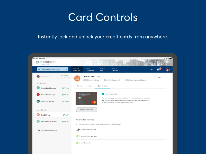 Card control capabilities in Online Banking