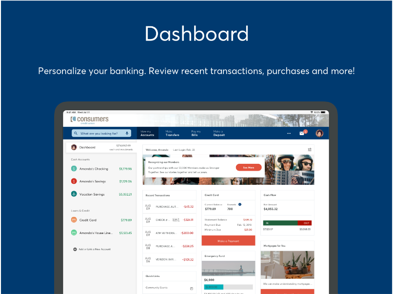 Dashboard view of Online Banking