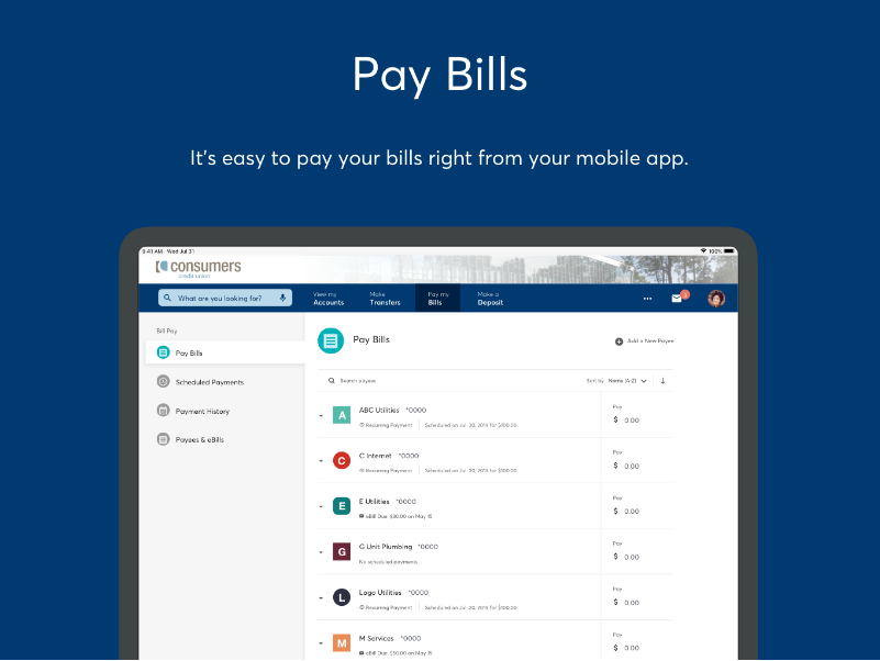 Bill payment options in Online Banking