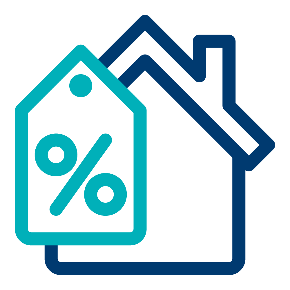 Percentage price tag icon in teal in front of a blue house icon.