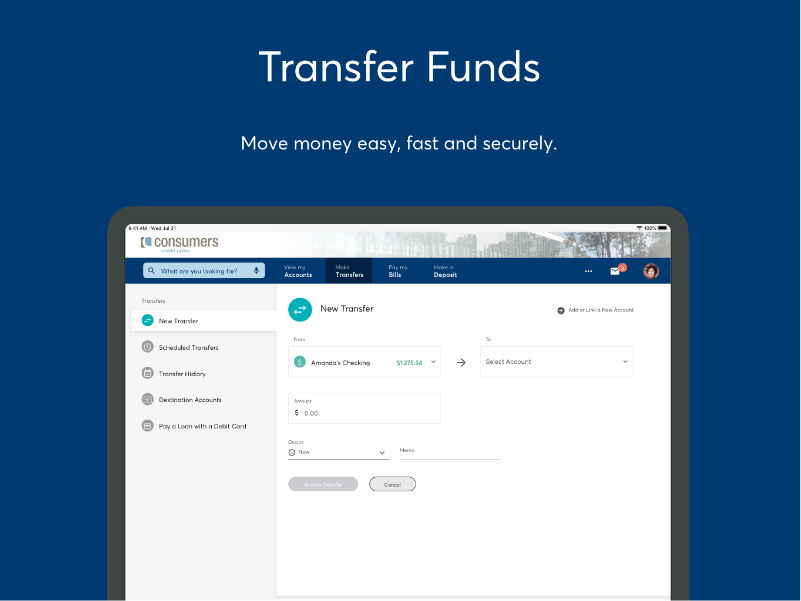 Transfer funds capabilities in Online Banking