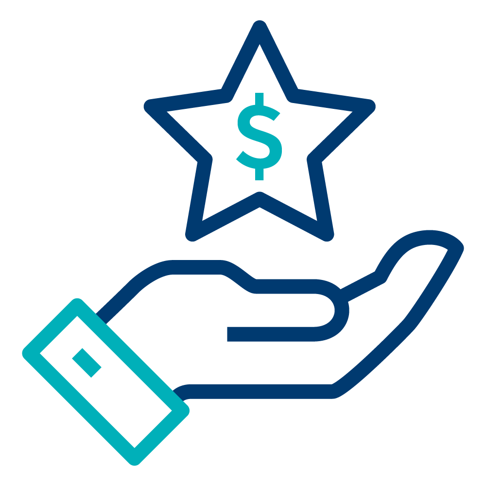 A blue hand icon below a star with a money symbol.