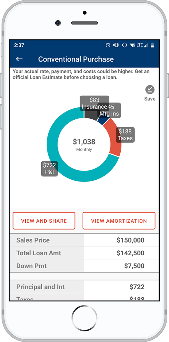 The Consumers Credit Union mobile loan calculator tool on an iPhone.