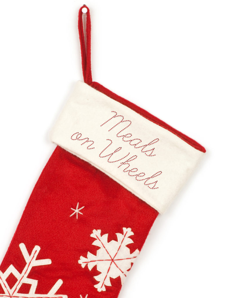 Red Christmas Stocking embroidered for Meals on Wheels