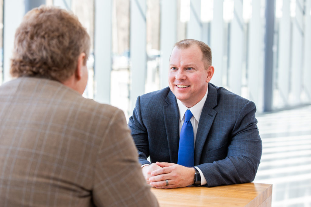 Ed Case, Business Development Manager at Consumers Credit Union, during a client meeting.