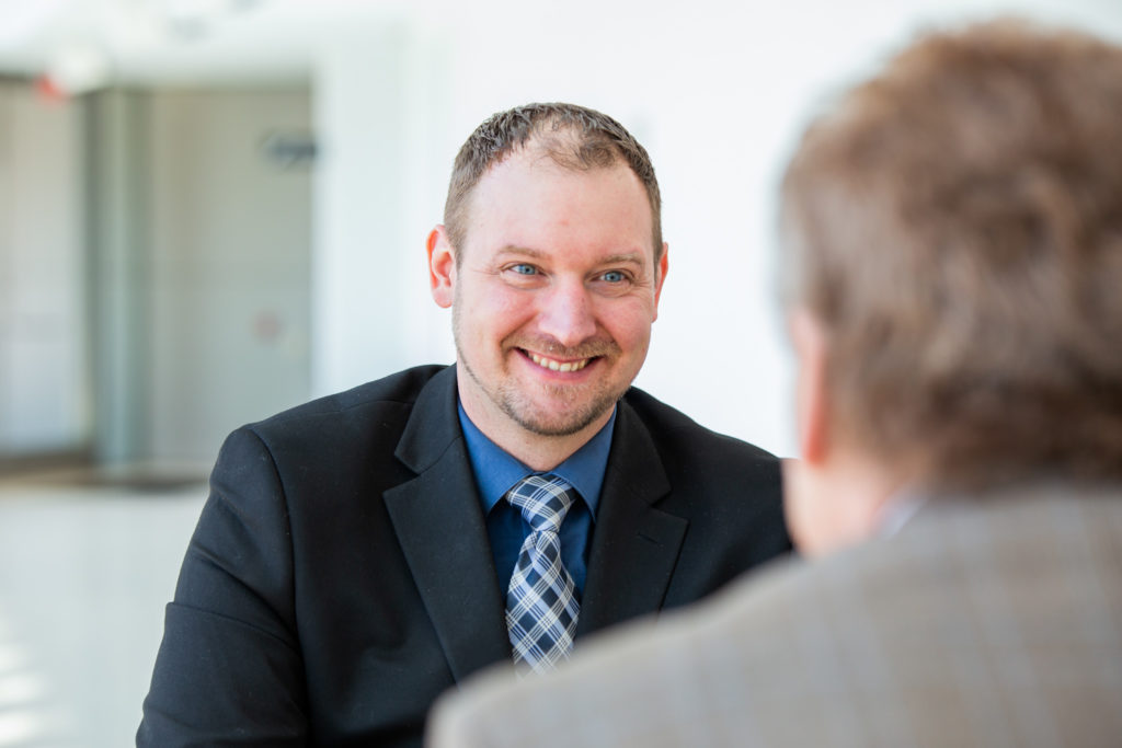 Matthew Hunt, Business Development Manager at Consumers Credit Union, during a client meeting.