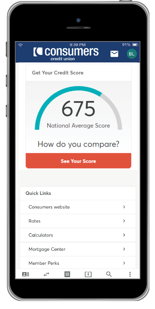 Credit score feature on mobile app