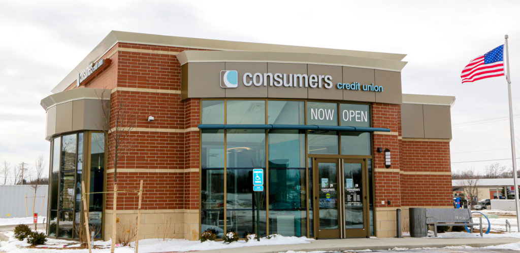 Exterior view of Consumers Credit Union Walker Office.