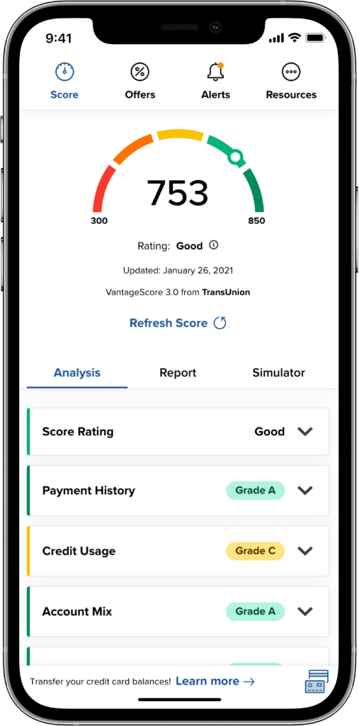 Credit score feature on cell phone