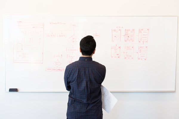 Businessman looking at figures on white board