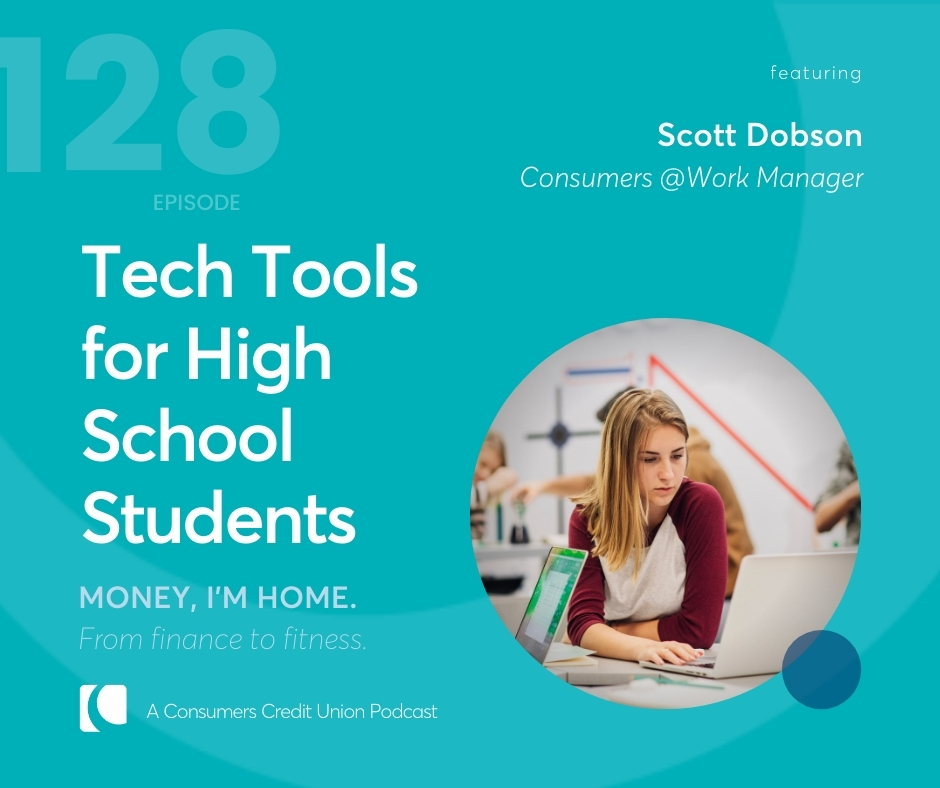 """Blue graphic image with text of podcast title """"Tech Tools for High School Students"""" with an image of a girl on a laptop"""