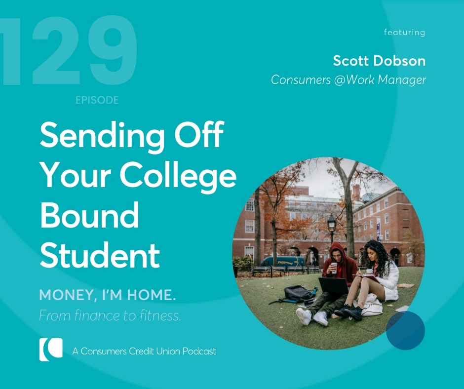 Graphic for podcast episode with title and guest, with image of two college students studying outside of a building.
