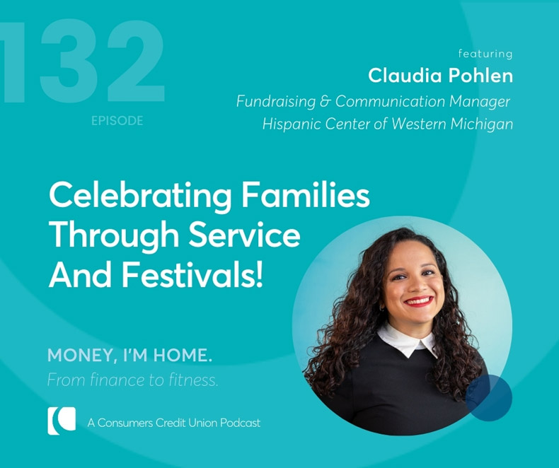 Consumers podcast graphic with image of Claudia Pohlen