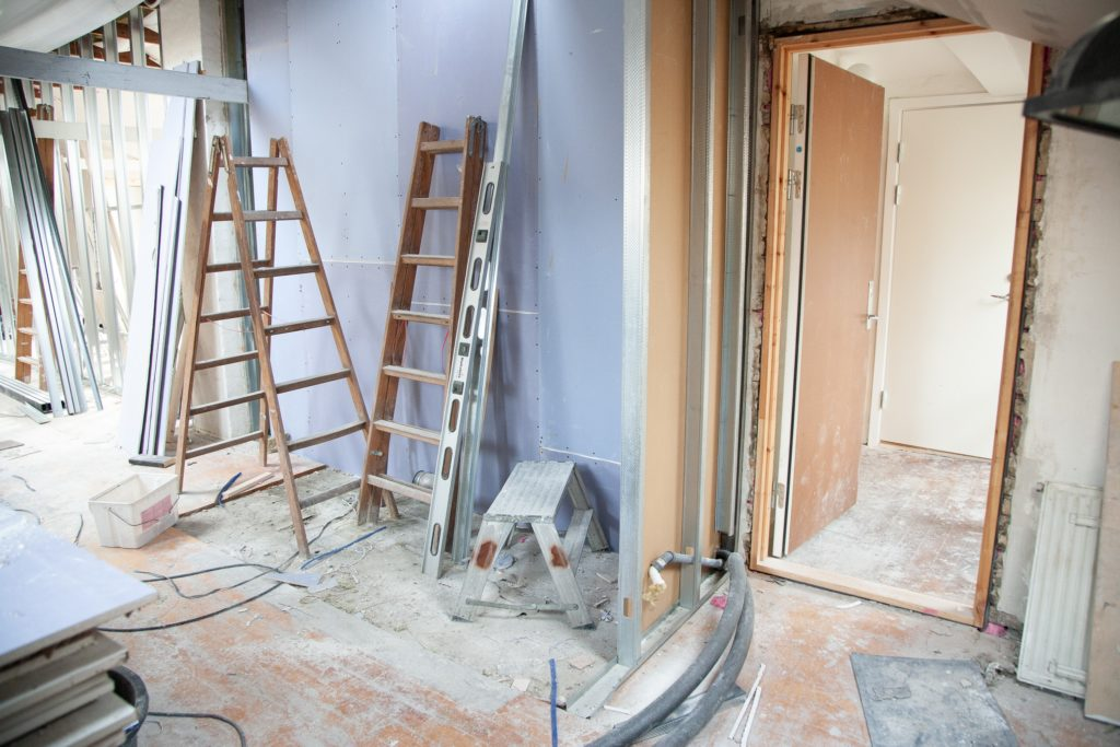 Interior construction work on a new home.